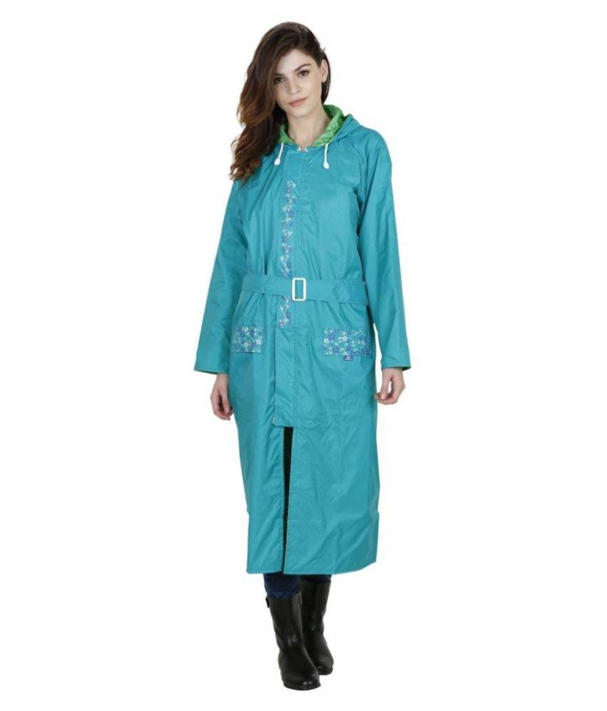Versalis Blue Polyester Long Raincoat
