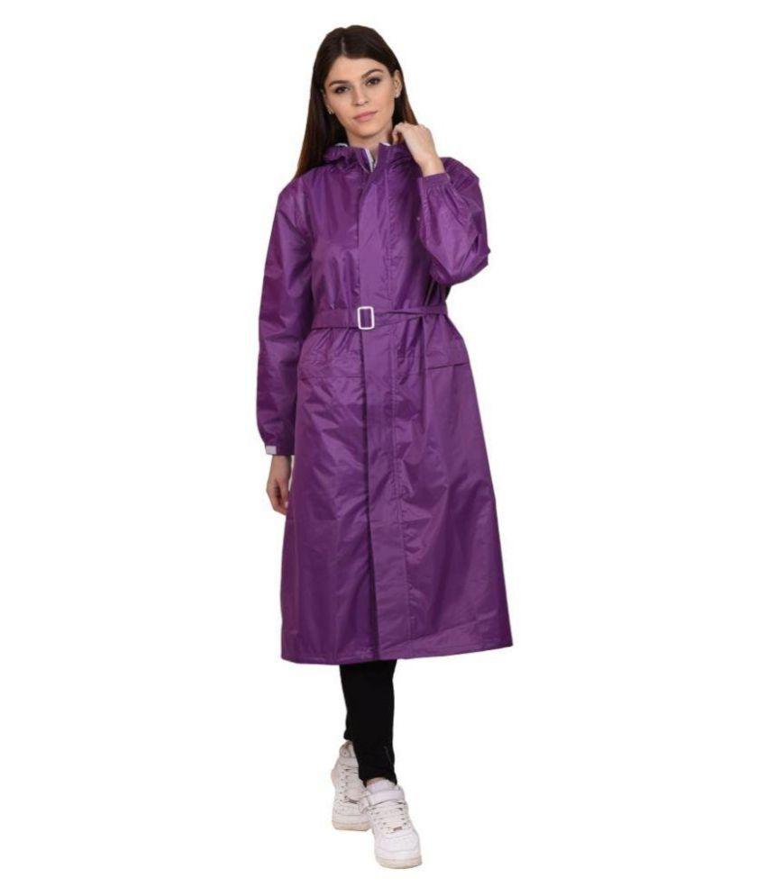 Versalis Purple Polyester Long Raincoat