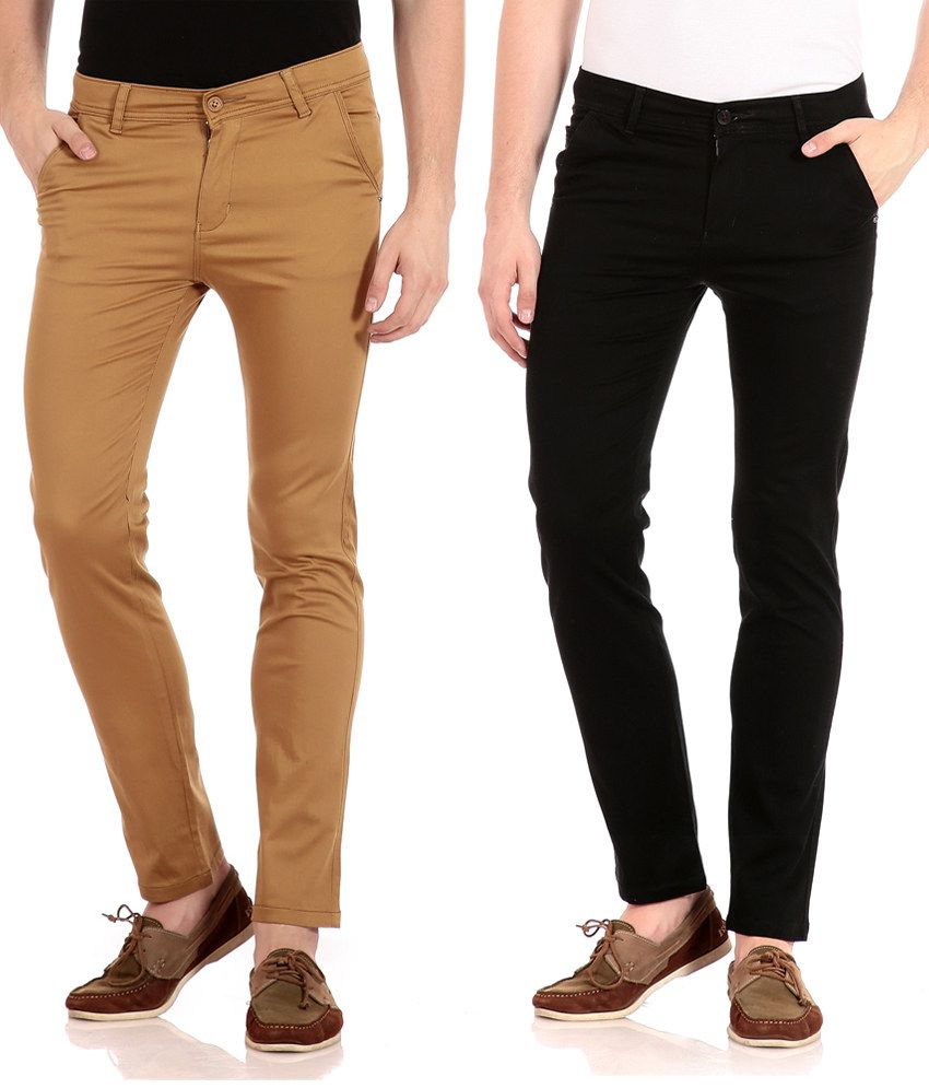 FlYJohn Brown and Black Slim Fit Casual Chinos - Pack Of 2