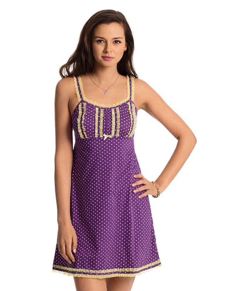 PrettySecrets Purple Cotton Nighty & Night Gowns