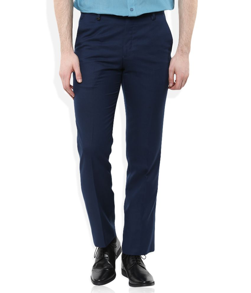 Urbana Navy Blue Classic Fit Formal Trousers