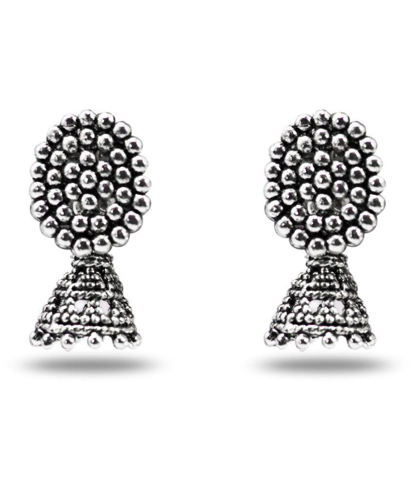 Three Shades Silver Jhumkis