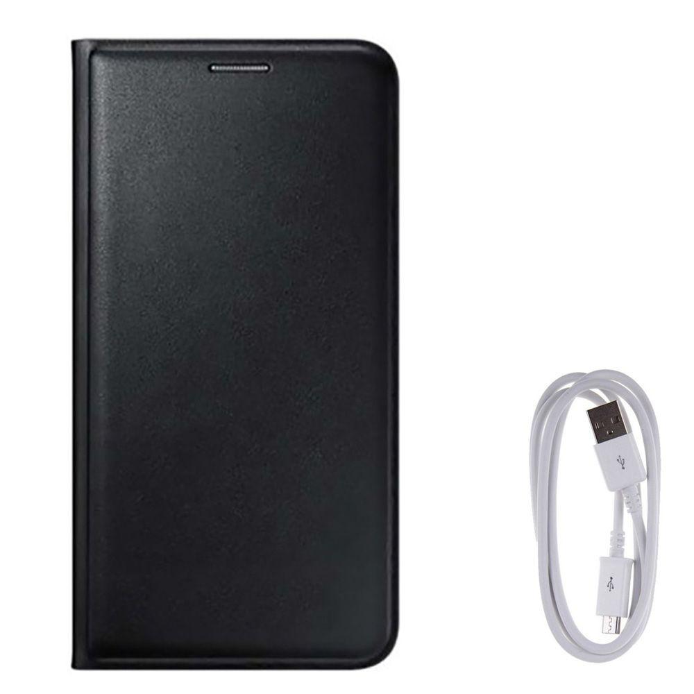 Avzax Premium Leather Flip Wallet Case Cover for Xiomi Redmi Note 3 (Black) + Data Cable