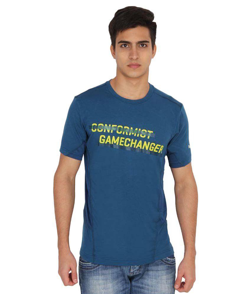 Puma Blue Cotton Printed Men's T-shirt