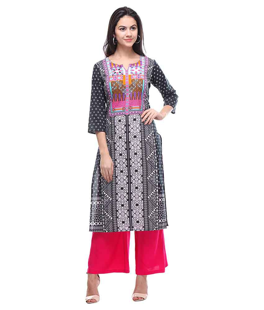 Varanga Multicoloured Cotton Kurti with Palazzo