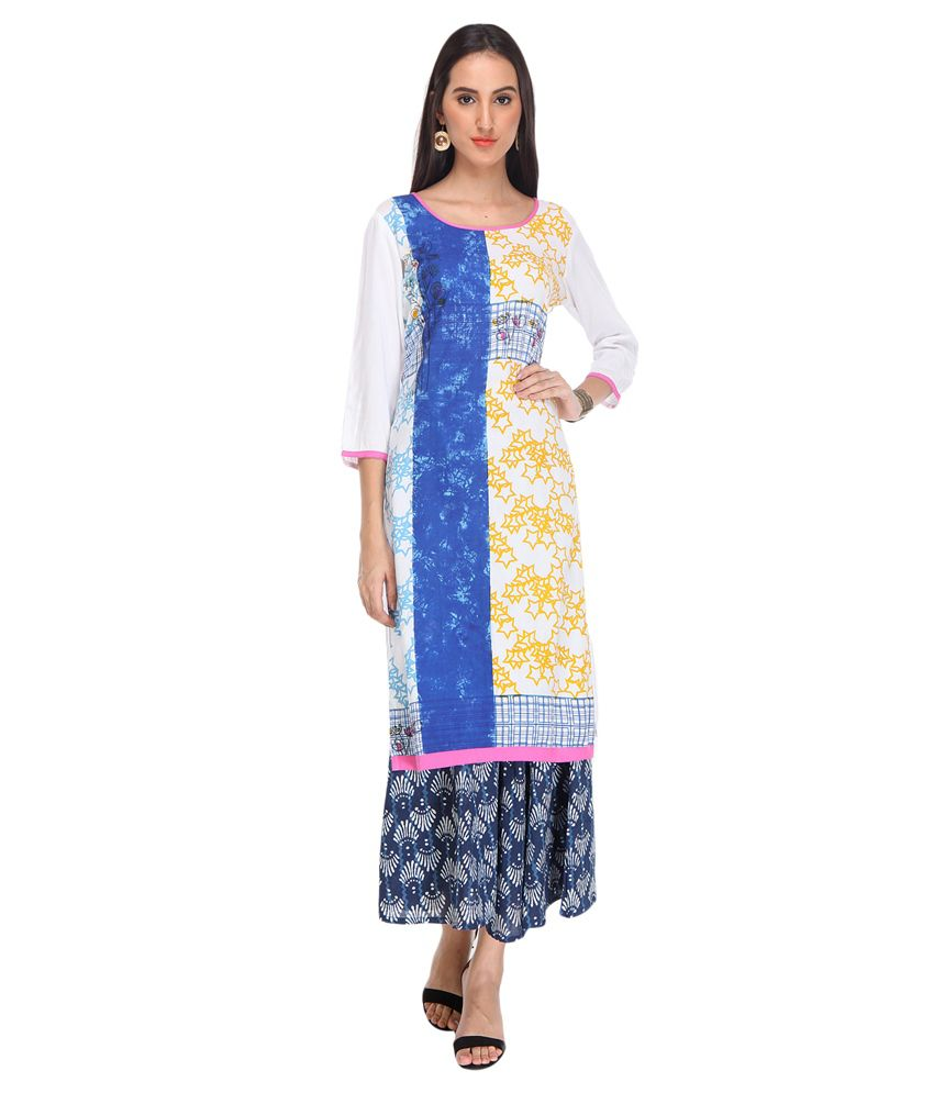 Varanga Multicoloured Rayon Kurti with Palazzo