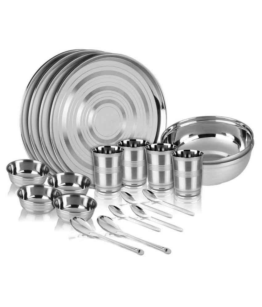 Shivom Stainless Steel Dinner Set - 20 Pcs
