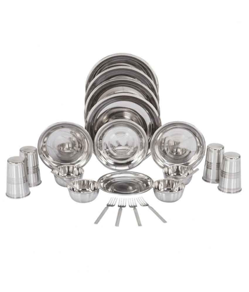 Shivom Stainless Steel Dinner Set - 24 Pcs
