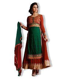 Jambudi Creation Green Georgette Anarkali Semi Stitched Dress Material
