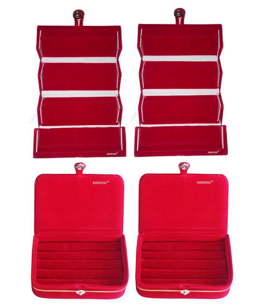 Abhinidi Red Wood Jewellery Box - Pack of 4