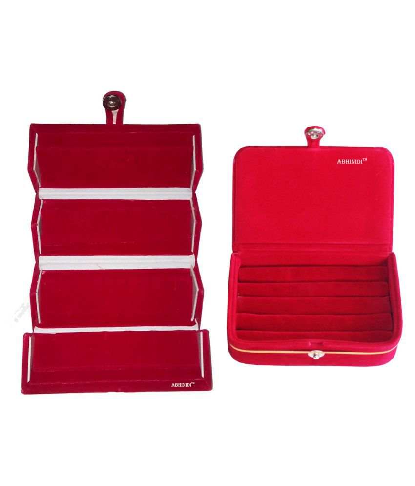 ABHINIDI Red Wood Jewellery Box - Pack of 2