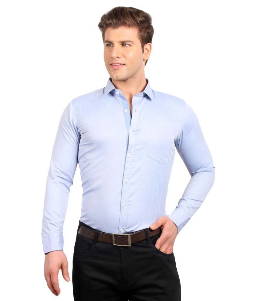 Solemio blue formal slim fit shirt snapdeal price shirts for Dinner shirts slim fit