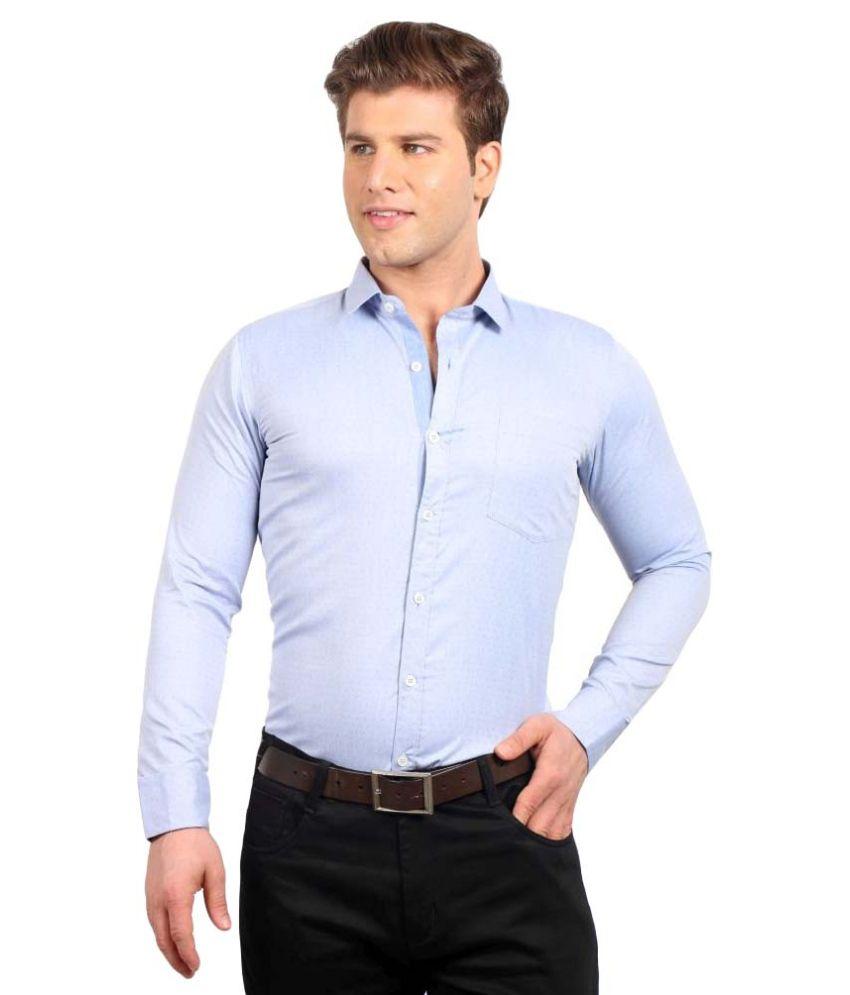 Solemio blue formal slim fit shirt buy solemio blue for Trim fit tuxedo shirt
