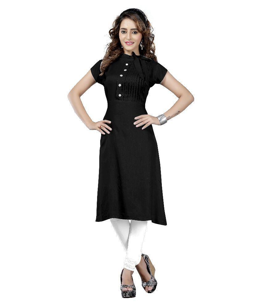 Fashionuma Black Satin Straight Kurti