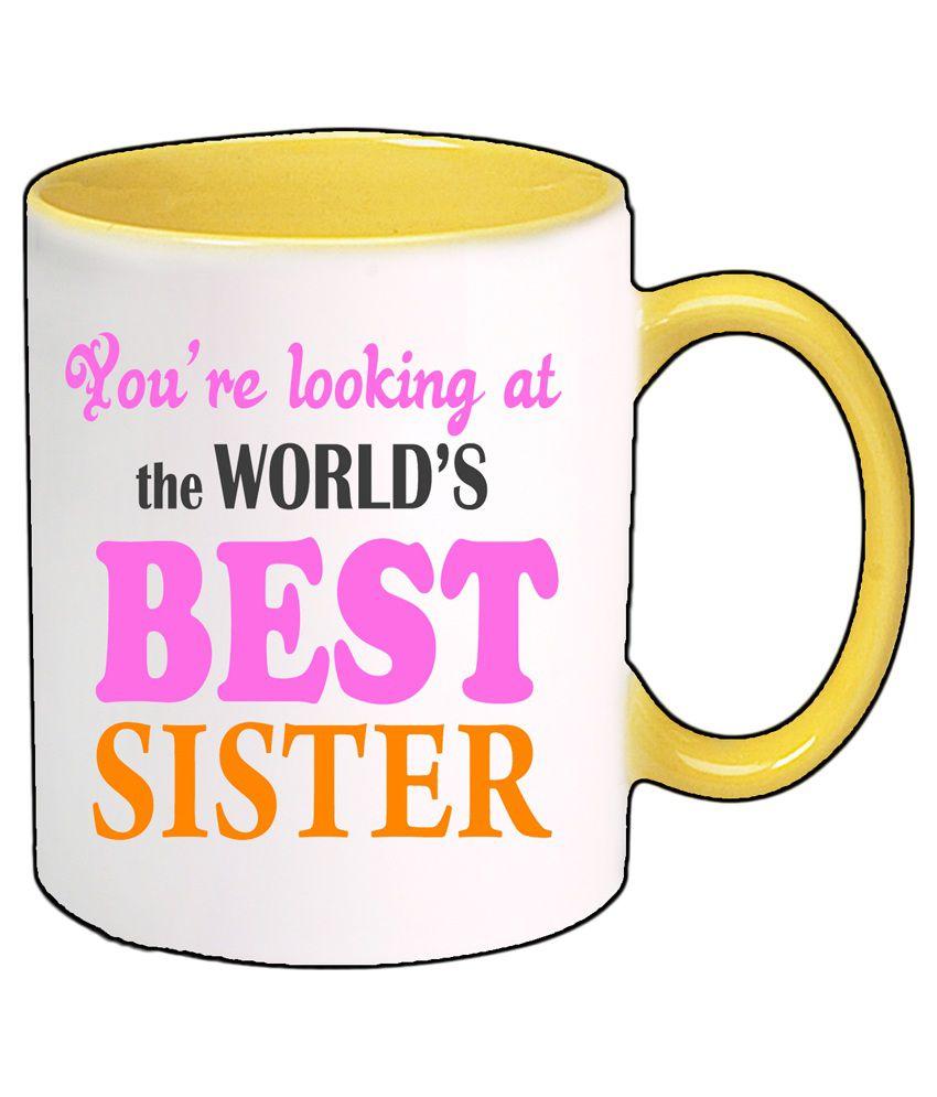 Gifts India BEST SISTER Ceramic Coffee Mug 1 Pcs 325 ml