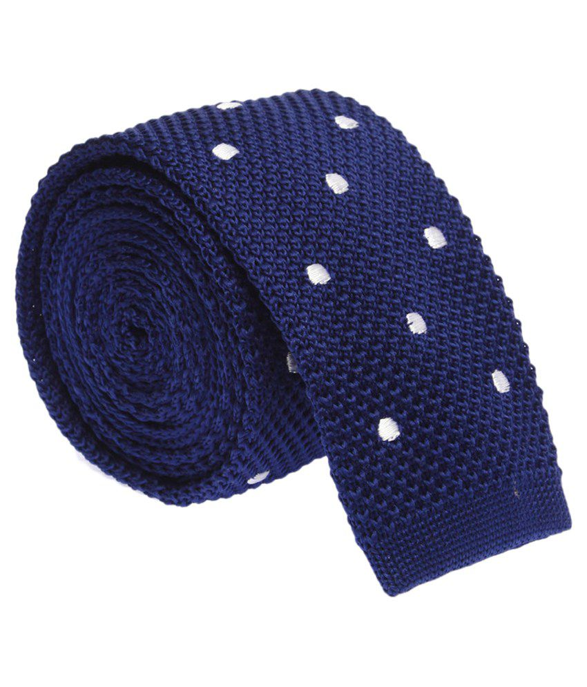 The Tie Hub Blue Polyester Knitted Tie For Men