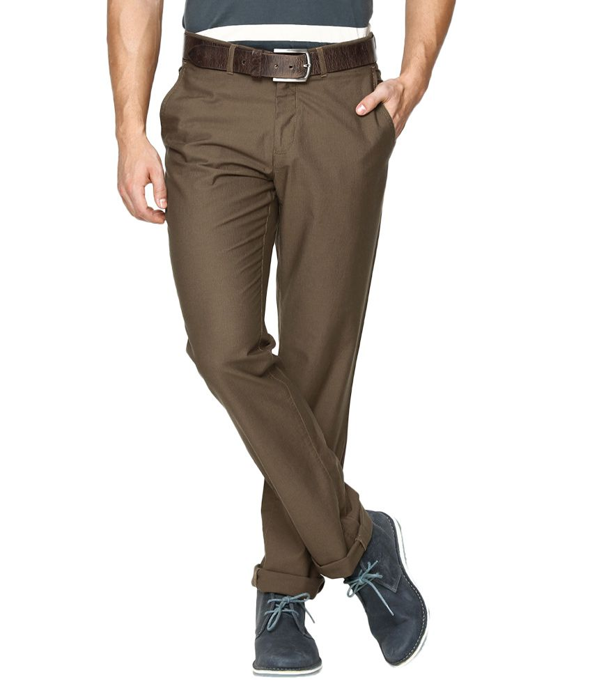 BLACKBERRYS Brown Regular Fit Formal Trousers