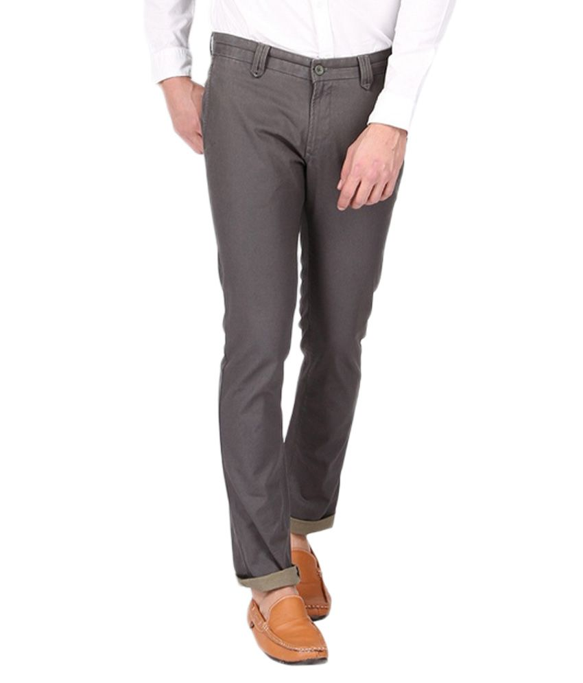 BLACKBERRYS Grey Slim Fit Formal Trousers