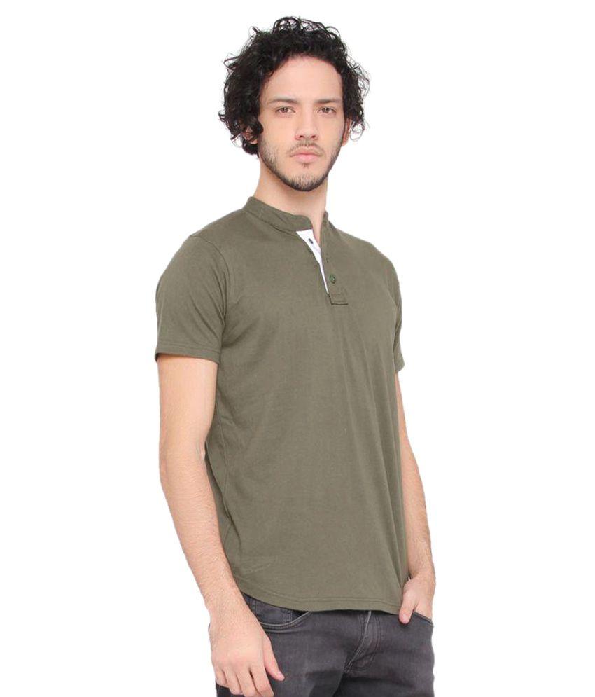 LUCfashion Green Henley T-Shirt