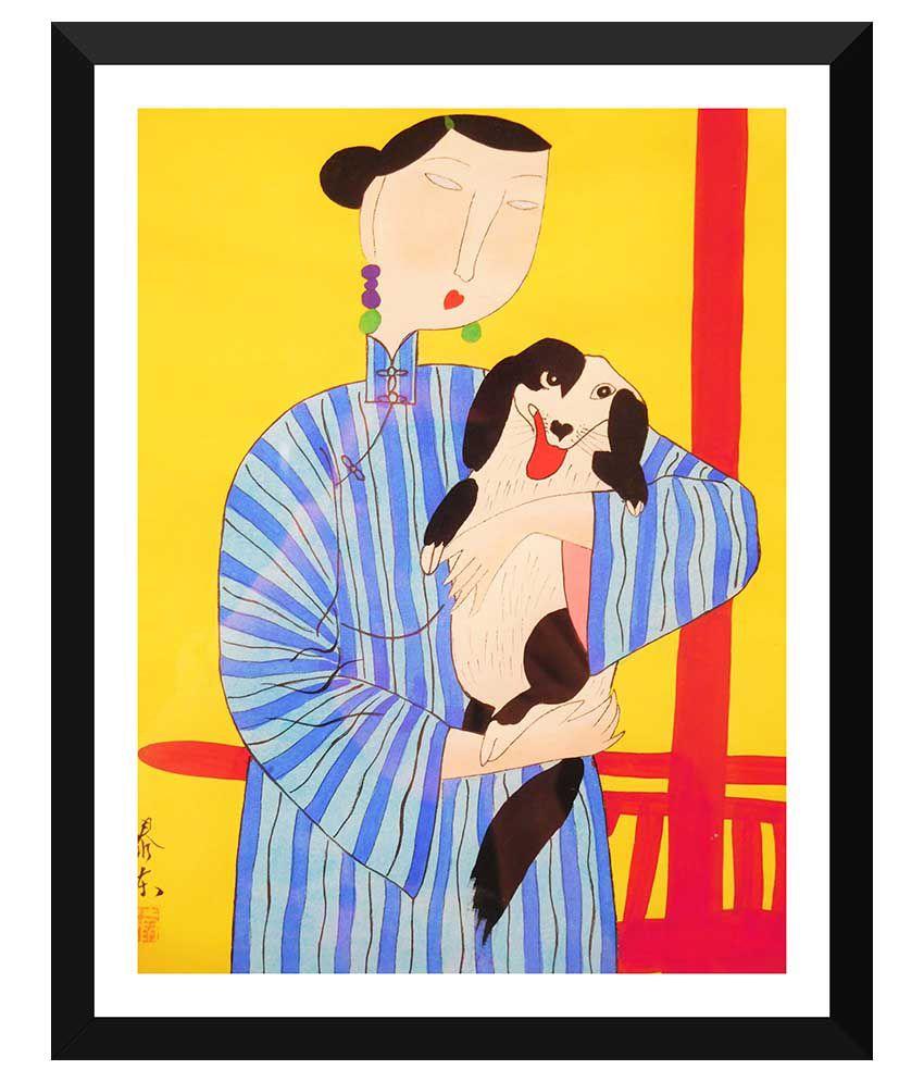 Tallenge Japanese Art Paper Art Prints With Frame Single Piece