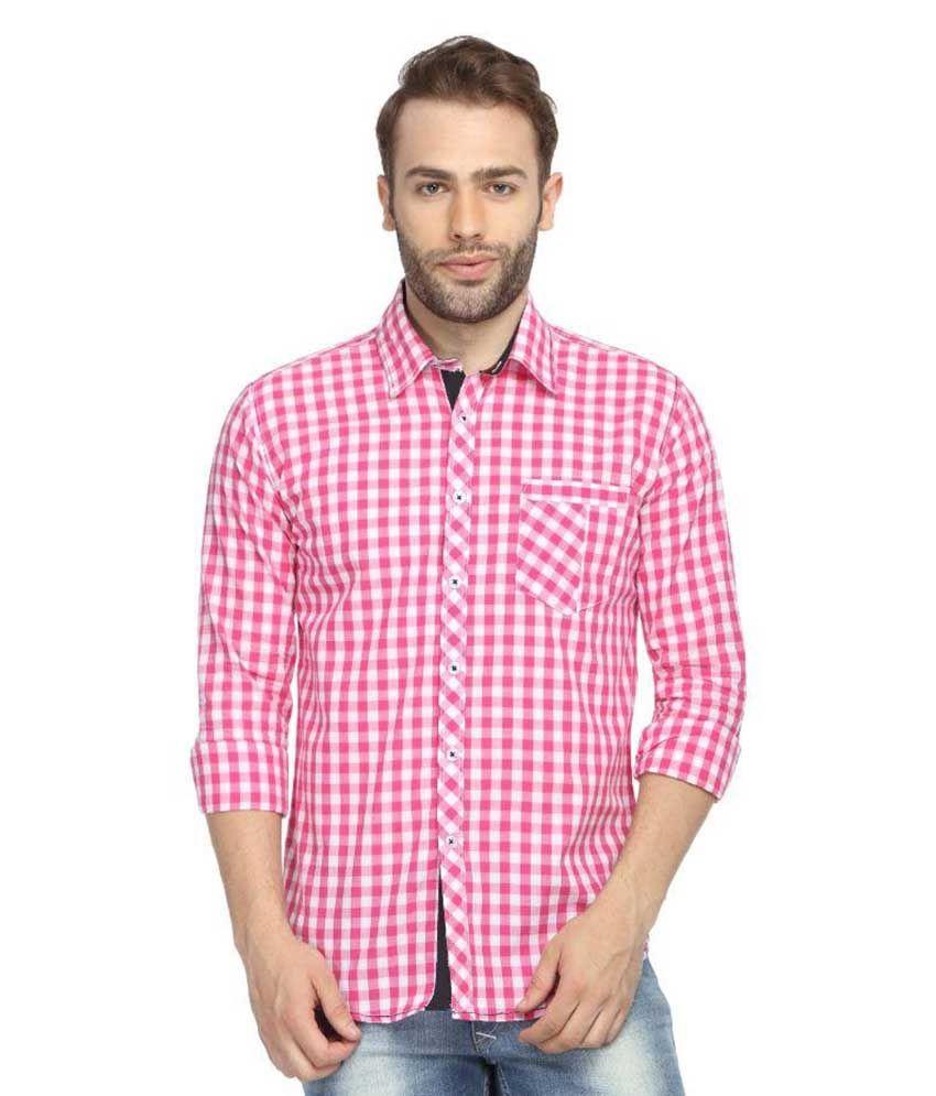 Wajbee Pink Casuals Slim Fit Shirt