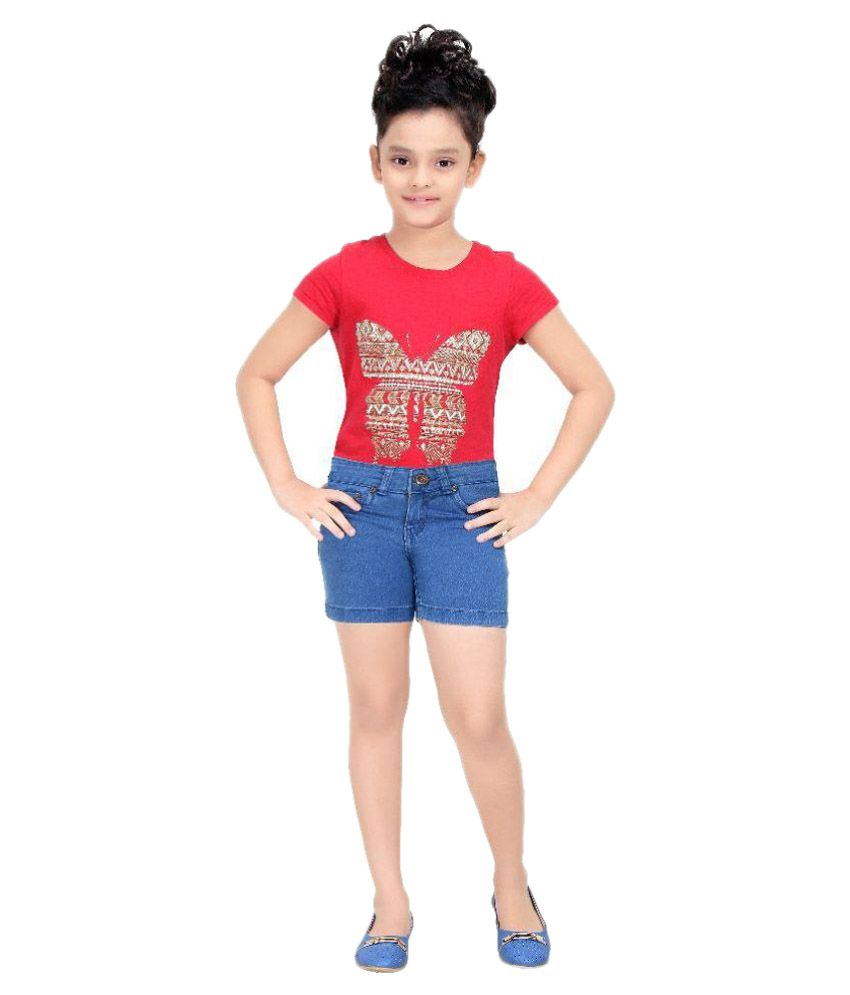 Clench Blue Cotton Hot Pants for Girls