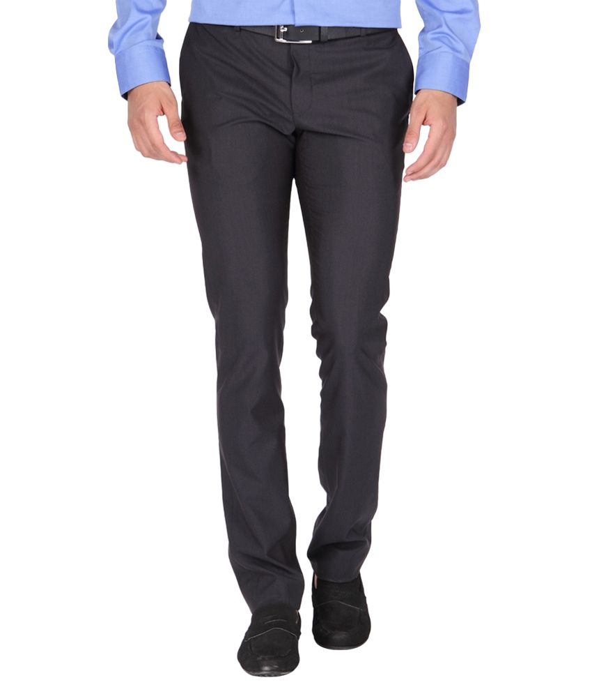 BLACKBERRYS Black Slim Fit Formal Trousers