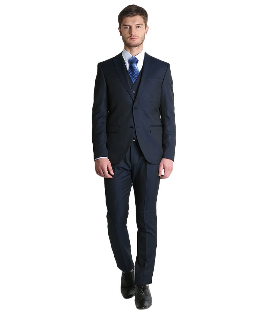 BLACKBERRYS Blue Regular Fit Single-Breasted Suit