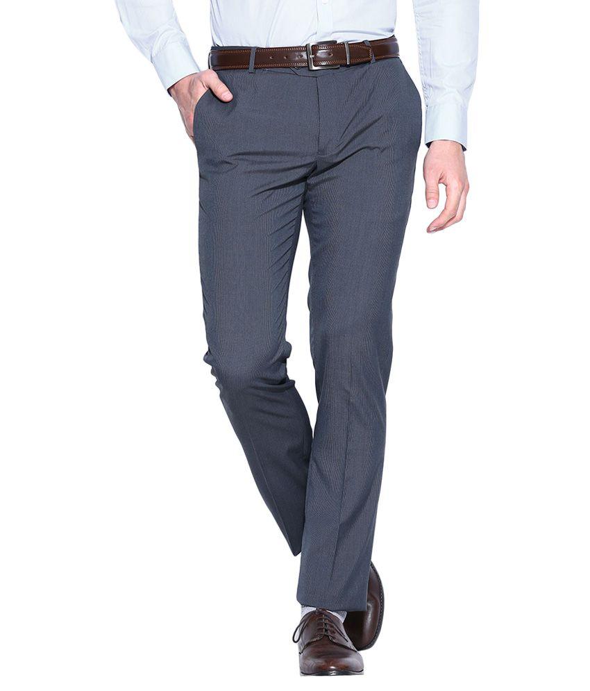 BLACKBERRYS Blue Skinny Fit Formal Trousers
