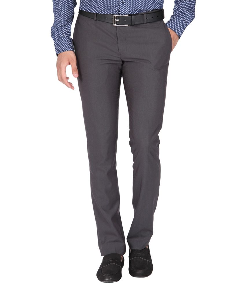 BLACKBERRYS Grey Slim Fit Formal Trousers