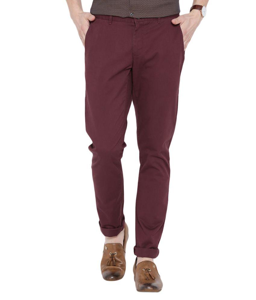 BLACKBERRYS Maroon Skinny Fit Casual Trousers