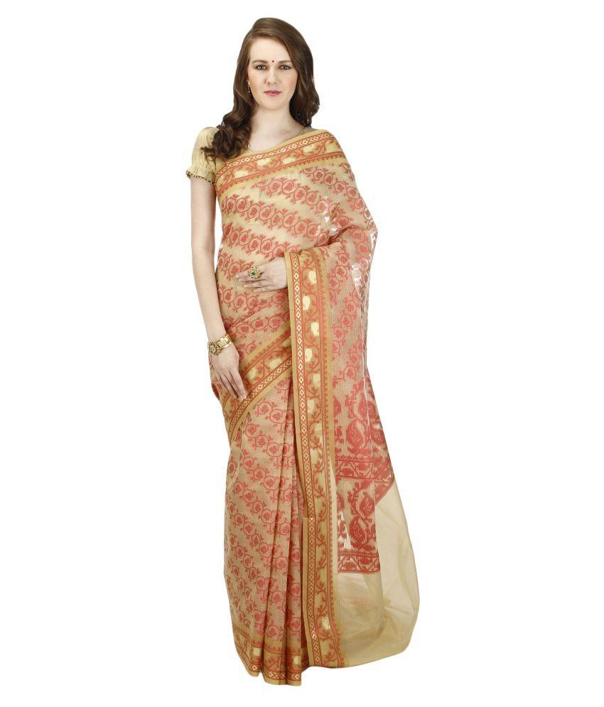 Banarasi Silk Works Beige Jute Saree