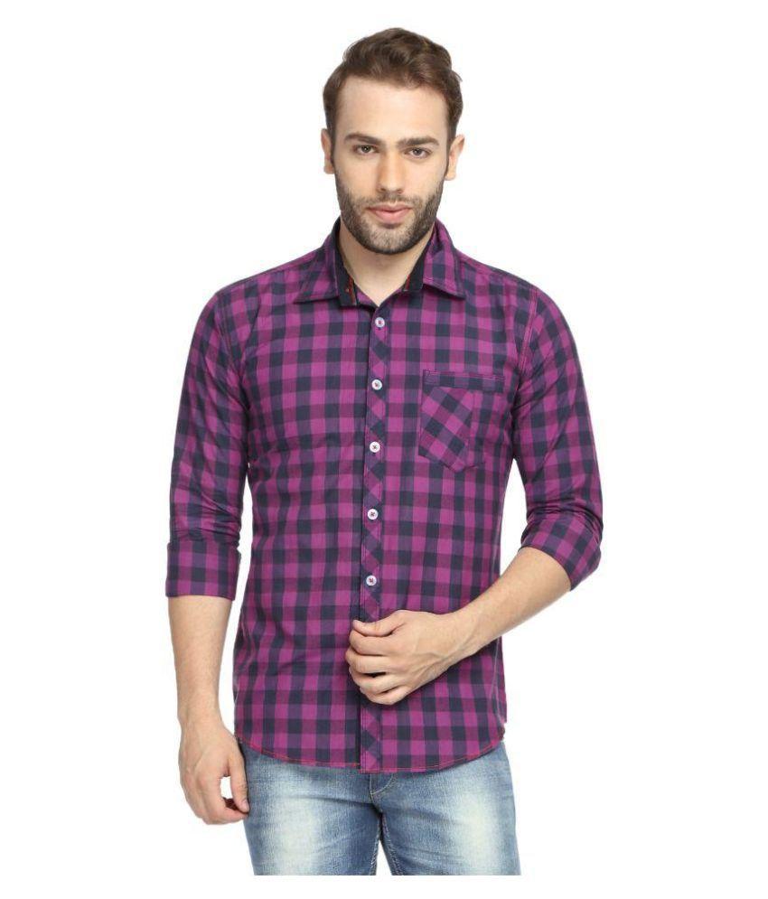 Wajbee Purple Casuals Slim Fit Shirt