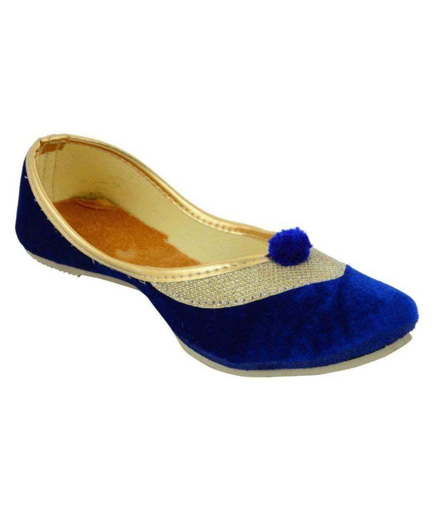 Austrich Blue Flat Ethnic Footwear