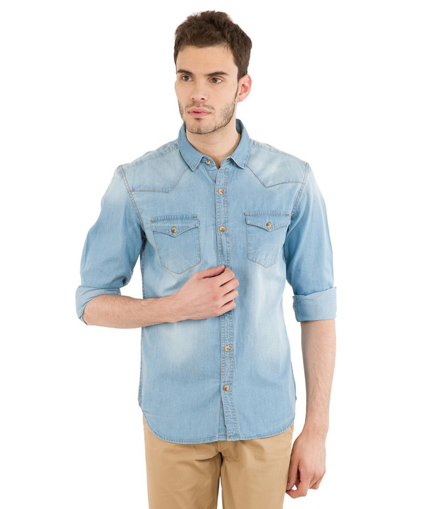 Highlander Blue Casuals Slim Fit Shirt