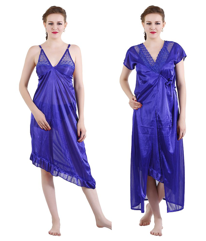 651a488caf Buy Romaisa Blue Satin Nighty & Night Gowns Online at Best Prices in India  - Snapdeal