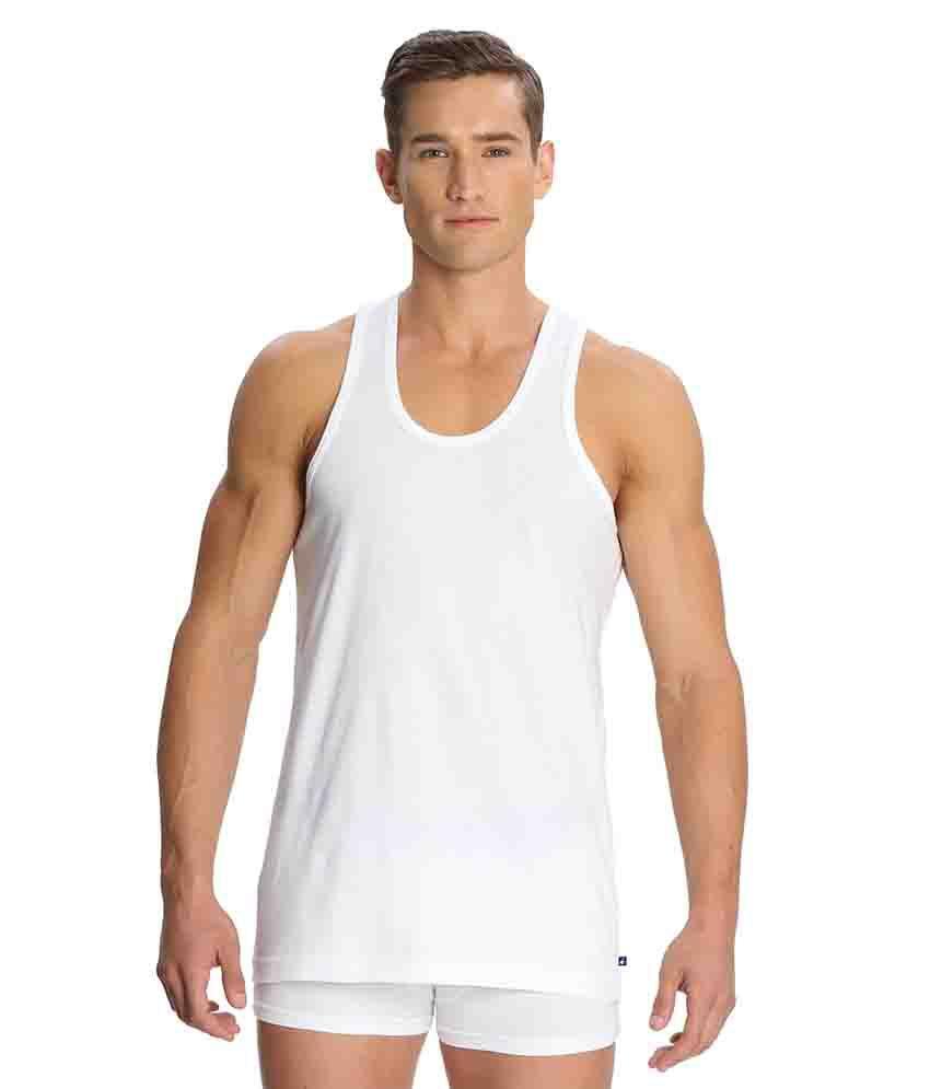 Jockey White Sleeveless Vests Pack of 3