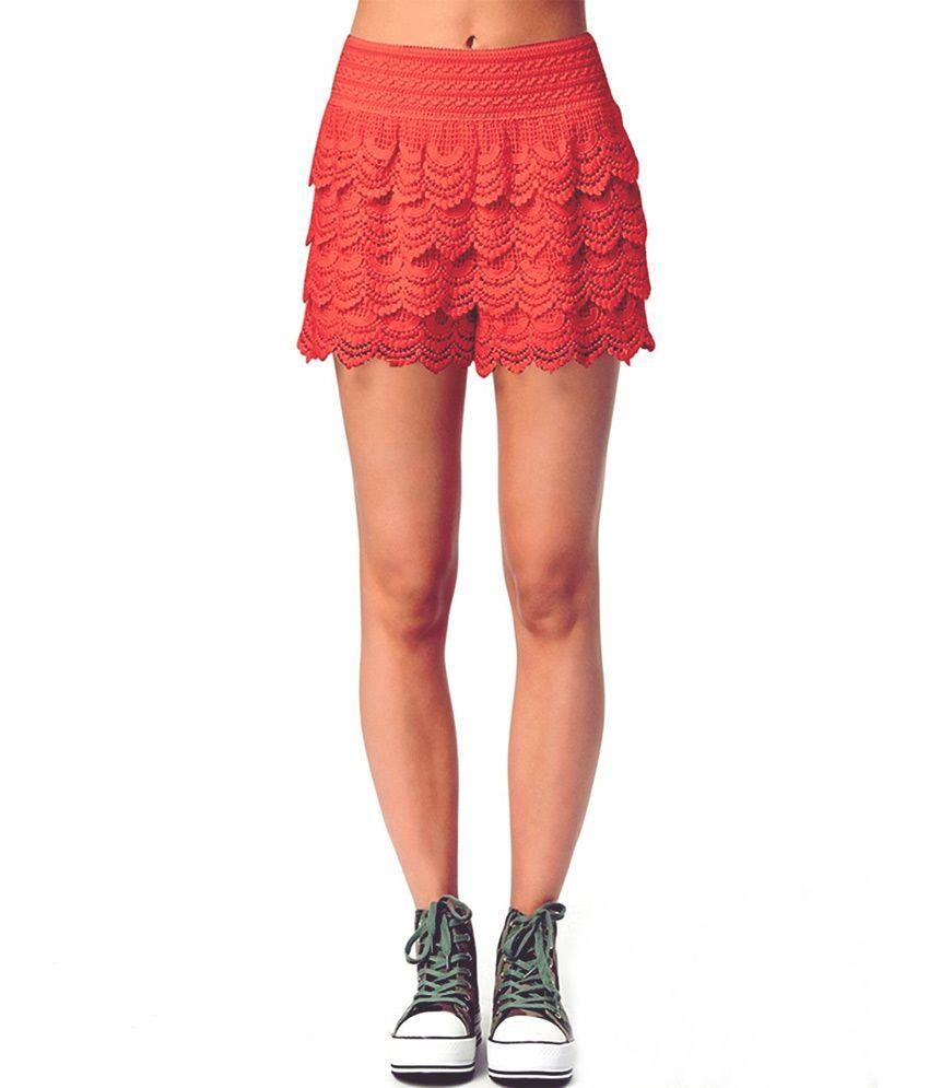 Loverlobby Orange Polyester Shorts