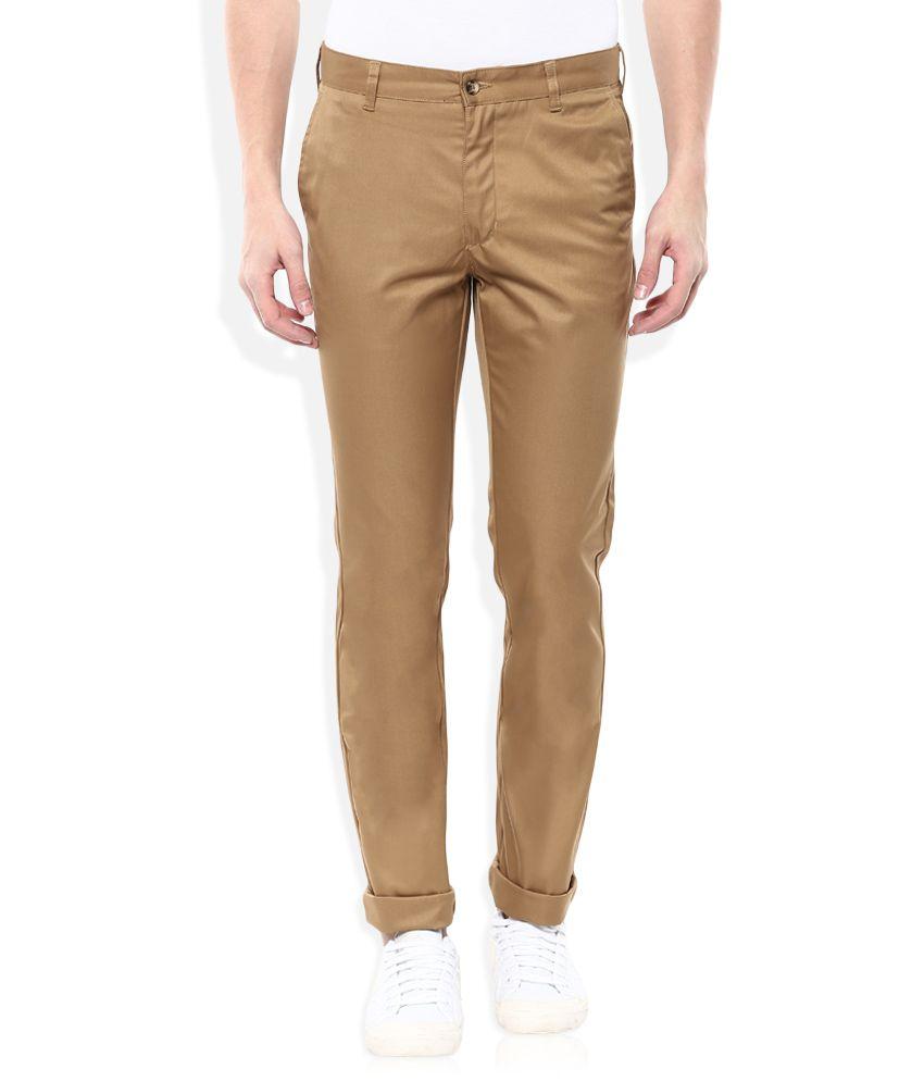 Parx Khaki Slim Fit Casuals Trousers