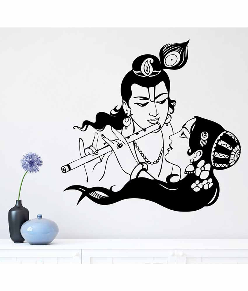 Wall stickers radha krishna - Wallskart Lord Krishna With Radha Vinyl Wall Stickers