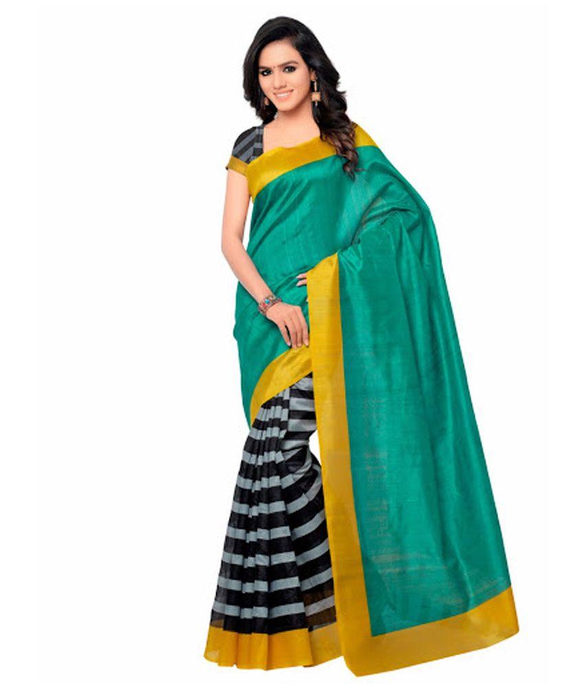 Aangel Enterprise Green Bhagalpuri Silk Saree