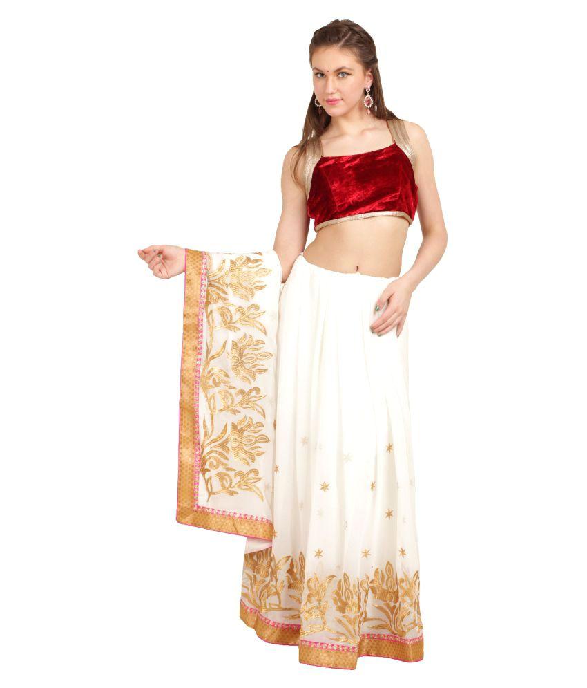 Satrang White Chiffon Saree