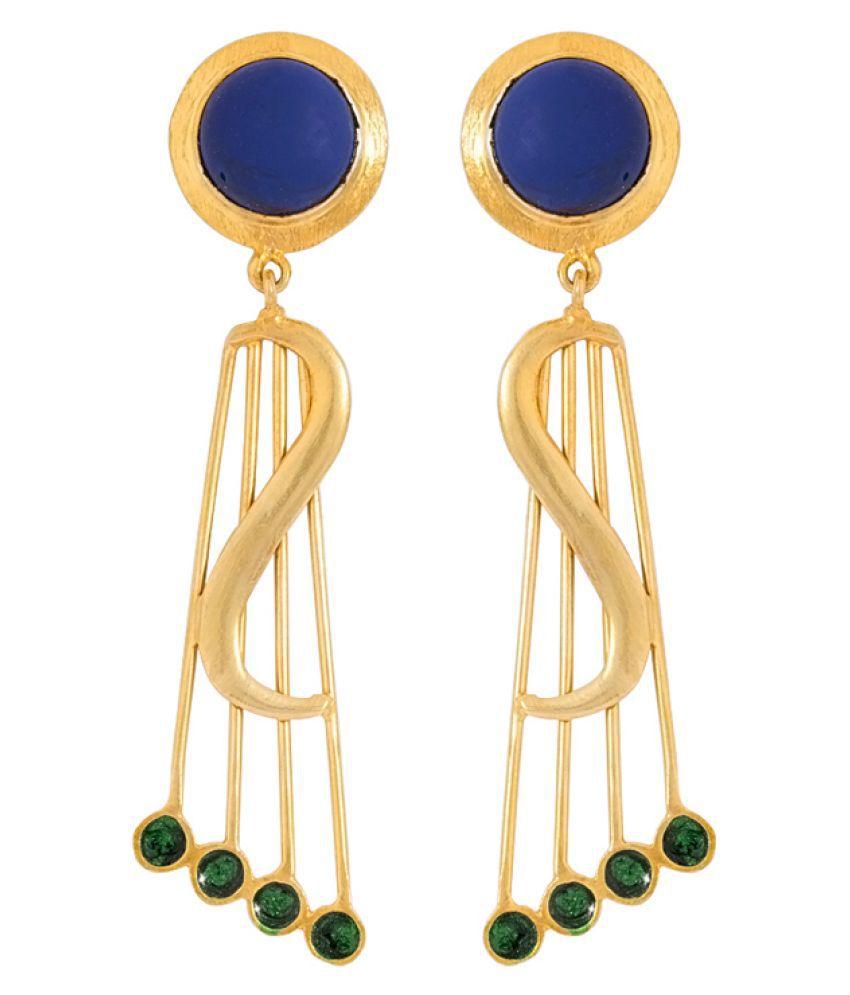 Voylla Yellow Hanging Earrings