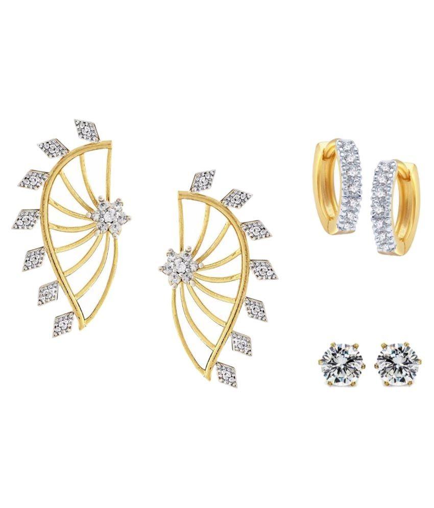 Efulgenz Yellow Earrings - Pack of 3