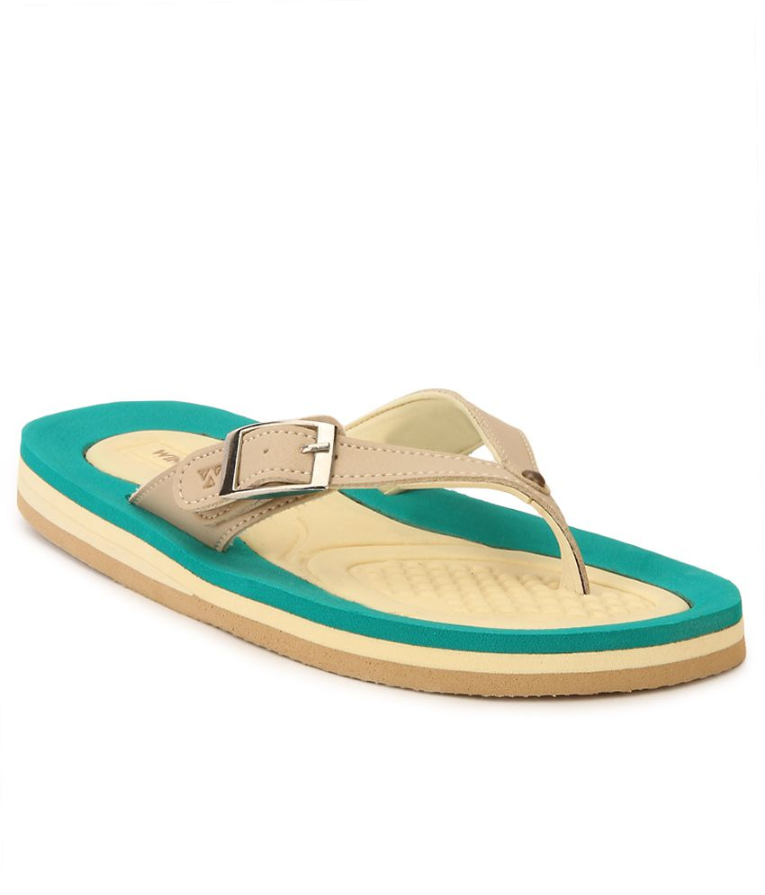 Windwalker Rumba 4 Beige & Green Flip Flops