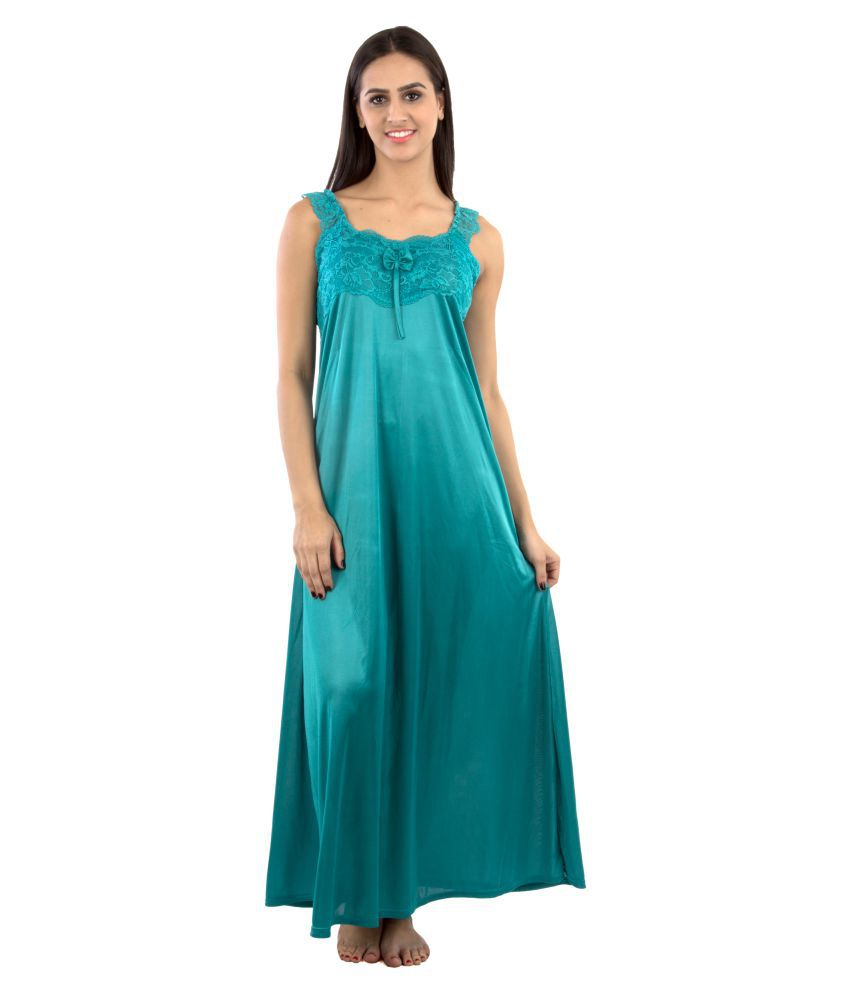 Buy Go Glam Teal Poly Satin Nighty & Night Gowns Online at Best ...
