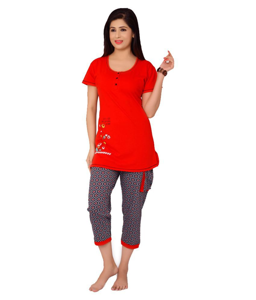 Skinwrap Red Cotton Nightsuit Sets