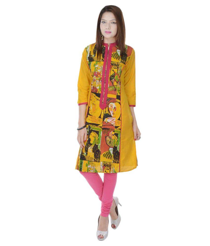 Fab Rajasthan Multicoloured Cotton Straight Kurti
