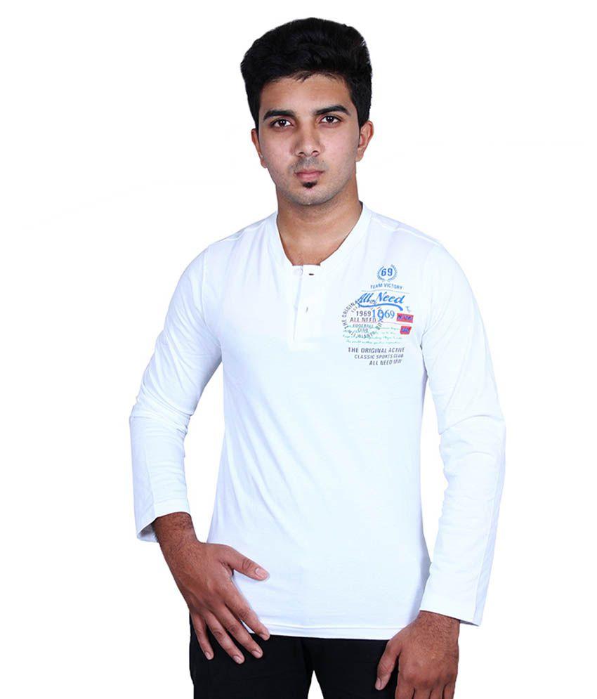 Moonwalker White Henley T-Shirt