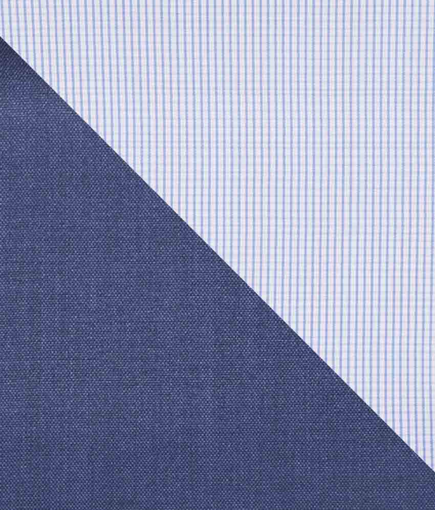 Gwalior Suitings Blue Cotton Blend Unstitched Shirts & Trousers